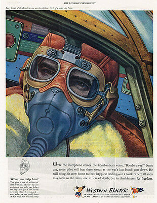 1943 AD Western Electric telephones for Air Forces-bomber pilot in the mask