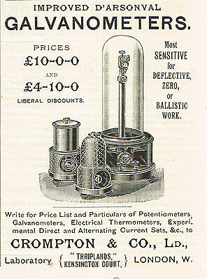 1900 AD Crompton & Co D'Arsonval Galvanometers-Kensington Court, London