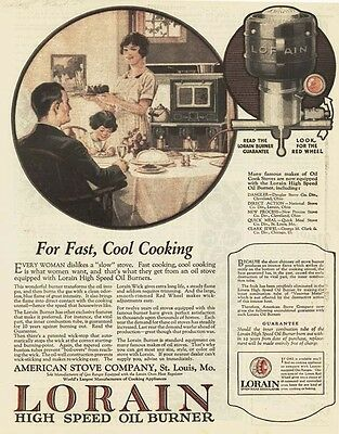 1924 AD Lorain High Speed oil burner American Stove Co. St. Louis, Mo.