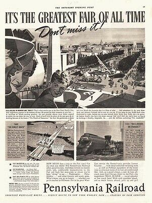 AD Pennsylvania Railroad direct route to World's Fair in New York   advertising