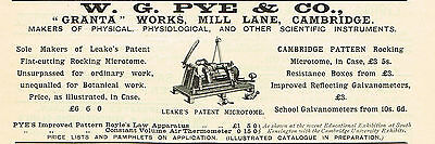 1900 AD W.G. Pye Leake's Patent Microtome-Granta Works Mill Lane, Cambridge