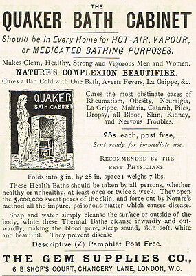 1899 AD Quaker Bath Cabinet-Gem Supplies 6 Bishop Court, London
