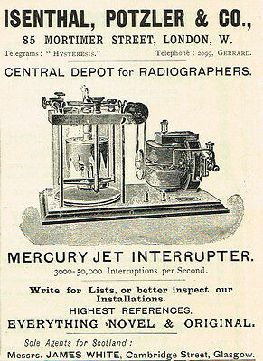 1900 Isenthal, Potzler,  London Mercury Jet Interrupter vintage print ad