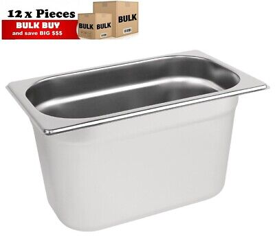 12PCS S/STEEL CONTAINER GN  1/4 GASTRONORM TRAY FOODGRADE 150mm DEEP