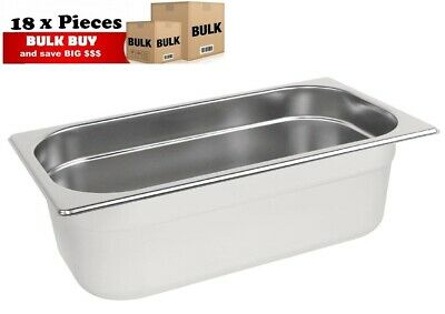 18PCS S/STEEL CONTAINER GN  1/3 GASTRONORM TRAY FOODGRADE 100mm DEEP
