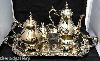 Vintage FB Rogers Silverplate Large Serving Tray and Tea Set 1883