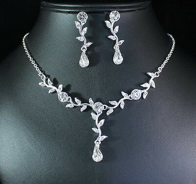 Floral Clear Austrian Rhinestone Necklace Earrings Set Bridal Wedding N1688S