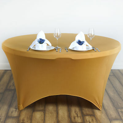 """Gold ROUND 60"""" SPANDEX STRETCHABLE TABLECLOTH Wedding Catering Decorations SALE"""