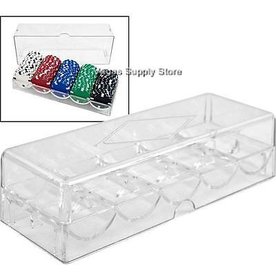 (8) Poker Chip Rack and Cover Clear Acrylic (5 Row / 100 Chip) - Item 95-0052x8