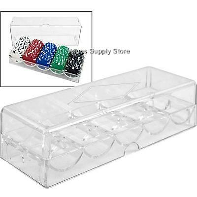 (10) Poker Chip Rack and Cover Clear Acrylic (5 Row / 100 Chip) -Item 95-0052x10
