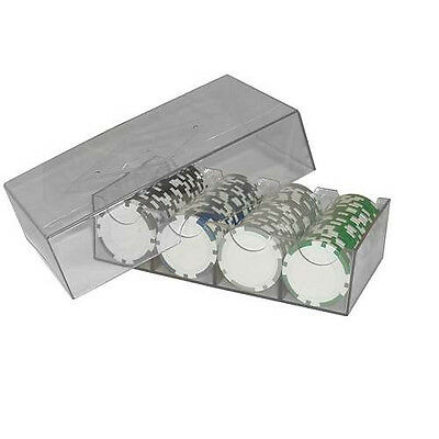 (5) Five Poker Chip Box and Cover Clear Acrylic  (4 Row / 100 Chip) -# 95-0101x5