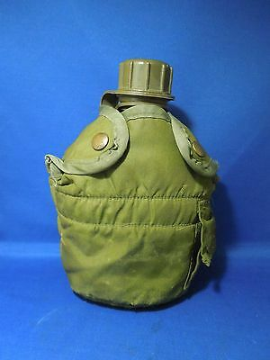 Vintage US Army Plastic Canteen Water Container w Cover and Belt Clip 1 Qt