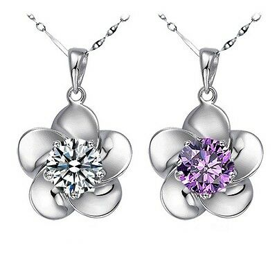 2 colors 925 sterling silver fashion flower pendant lady necklace crystal chain