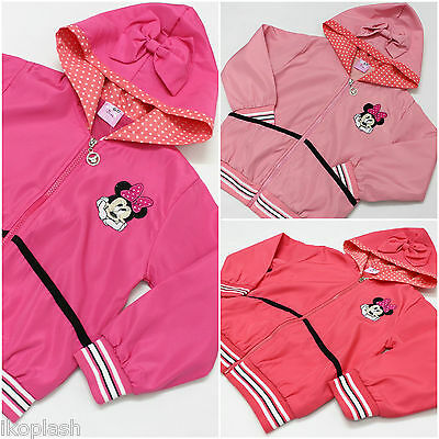 Girls Minnie Mouse Cotton Jacket Hooded Coat Pink Peach size 18M-2y to 5 6 years