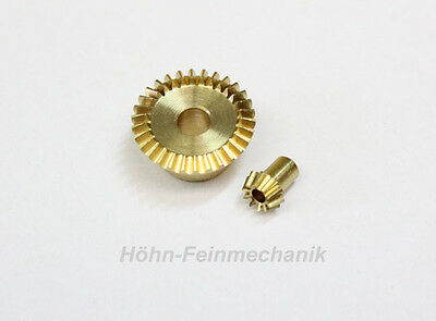 Bevel gear Made from Brass, Module 0,5, 10/30 Tooth, 1 Pair