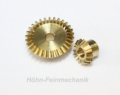 Bevel gear Made from Brass, Module 0,8, 15/30 Tooth, 1 Pair