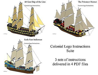 Lego Pirate Imperial Armada Instruction Suite 2 Man O War, Privateer, Indiaman