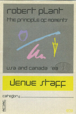 ROBERT PLANT 1983 BACKTAGE PASS Staff ylw LED ZEPPELIN
