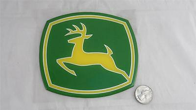 "NEW John Deere Sticker Decal 5 3/8"" X 4 3/4"" Heavy Duty Thick Silver Outlined"