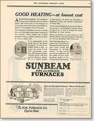 1922 Fox furnace Sunbeam Heating vintage AD