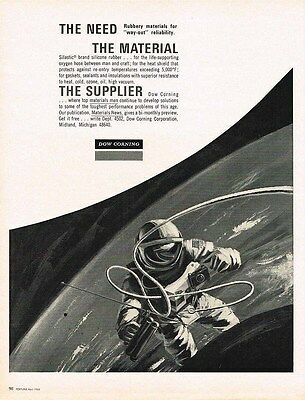 1966 industrial AD Dow Corning astronaut in space-ORIGINAL ADVERTISING