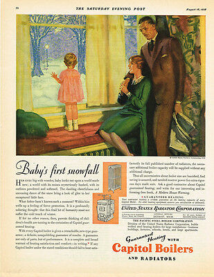 1928 AD Capitol Boilers and radiators-baby's first snowfall advertising