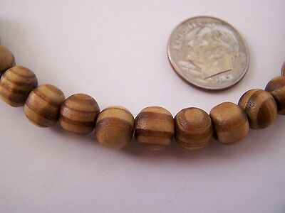 100 pcs Brown Striped 8mm Round Wood Beads
