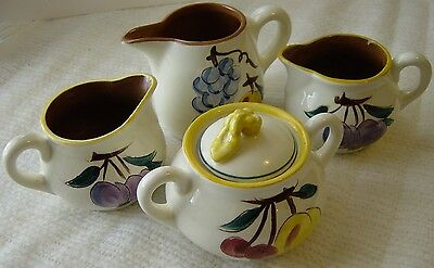 Stangl Pottery Trenton N.J. Fruit Pattern Creamers & Sugar with Lid