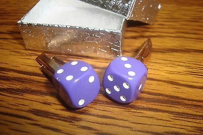 "Purple & White 1/2"" 12mm Lucky ""7"" Dice Cuff links 1 Pair (Two) * Gold Plated"