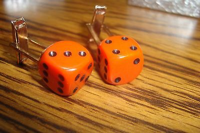 "Orange-Black 1/2"" 12mm Lucky ""7"" Dice Cuff links 1 Pair (Two) * Gold Plated -NEW"