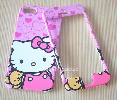New pink cute bow hello kitty bear fullbody cover case for apple iphone 5S 4S