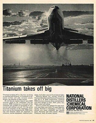 1966 metal AD National Distillers & Chemical-Titanium big-ORIGINAL ADVERTISING