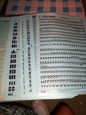 hh. NOS Letraset Lettering 10 x 15 Sheet Various Fonts Sizes Use Drop-Down Box
