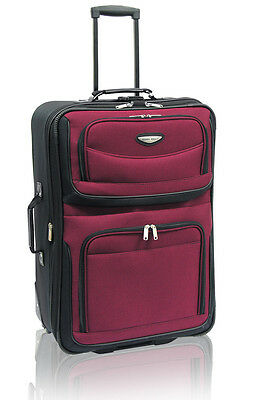 """Travel Select Red Amsterdam 25"""" Expandable Rolling Luggage Wheeled Suitcase Bag"""