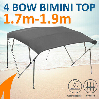 4 Bow 1.8-2.0m Grey Boat Bimini Top Canopy Cover w/ Rear Poles & Sock
