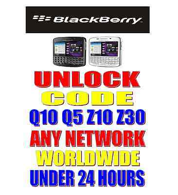 UNLOCK CODE FOR BLACKBERRY Q10 or Q5 FOR ANY NETWORK WORLDWIDE 1-24 HRS MAXIMUM