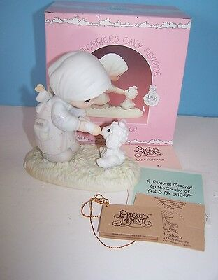 1987 Feed My Sheep, Precious Moments, PM871 Members Little Girl Bottle Lamb