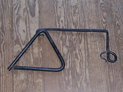 Vintage Wrought Iron Triangle Cowboy Dinner Bell and Hanger?