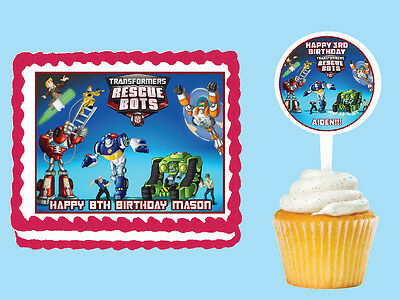 TRANSFORMERS RESCUE BOTS Edible Birthday Cake Topper Cupcake Picks Stickers