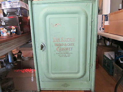 OUTSTANDING-ANTIQUE TIN DELUXE BREAD AND CAKE CABINET-STORE DISPLAY-ST LOUIS MO.