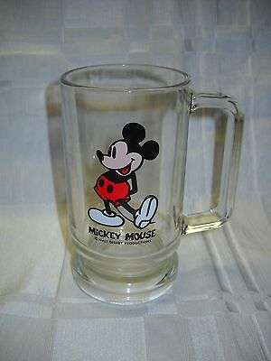 Collectible Mickey Mouse Glass Mug by Walt Disney Productions #4955