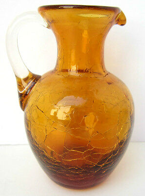"Vintage Amber CRACKLE GLASS Hand Blown 4.25"" Applied Handle Pitcher"