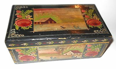 """OLD LACQUERED WOODEN BOX MEXICAN FOLK ART - OLINALA GUERRERO - 7 3/4"""" LARGE"""