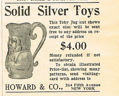 1909 AD Howard & Co.  Solid silver toys-toby jug advertising