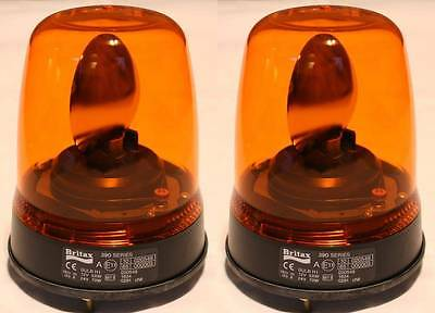 Pair of Britax 390 bolt-on amber flashing beacons recovery roof light warning
