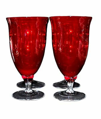 Ruby Red Crystal Glass Goblets/Balloon Glasses with Clear Crystal Base - 4pcs