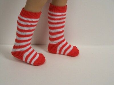"RED & WHITE Stripe Doll Socks For Dianna Effner 13"" Vinyl Little Darling (Debs)"
