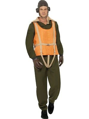 FANCY DRESS MENS FORTIES 1940s WW2 WARTIME AVIATOR COSTUME PILOT AIRCREW
