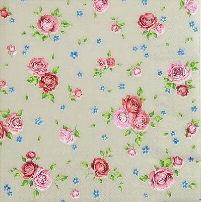 4x Single Table Party Paper Napkins for Decoupage Craft Vintage Rosalie Taupe