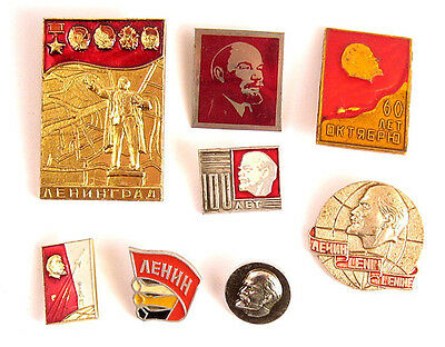 Lot of 8 Russian Soviet Pins Badge LENIN USSR